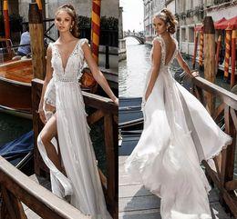 Wholesale Embellish Dresses - Side Split Flowy Skirt Romantic Sexy A line Wedding Dresses 2018 Julie Vino Bridal Deep V Neck Heavily Embellished Bodice Open Back