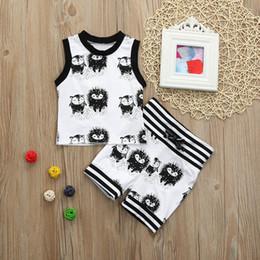 Argentina Baby Boys erizo ropa chaleco + pantalones cortos 2pcs Set animales negro blanco trajes chándal verano rayas cómodo niño ropa niño supplier toddler vests Suministro