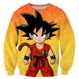 Wholesale dragon ball sweater - New Fashion Couples Men Women Unisex Dragon Ball Z Funny 3D Print No Cap Jacket Hoodies Sweater Y10