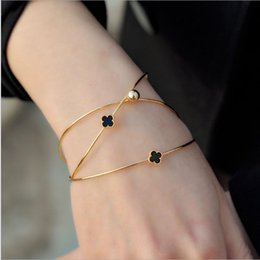 Wholesale Rose Gold Diamond Bracelet - Korean multi-layer diamond four-leaf clover opening female bracelet 18K rose gold alloy jewelry bracelet three-piece
