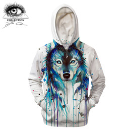 wolf art prints Promo Codes - Ice Wolf by Pixie cold Art Zipper Hoodies Men Sweatshirts 3D Wolf Printed Pullover Hooded Tracksuits Streetwear Brand jacket Dro