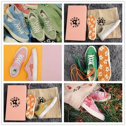 Wholesale round bags - (2 Laces+Dust Bag) TTC Creator x Tyler One Stars Ox Golf Le Fleur Suede Fashion Casual Canvas Shoes All Scarlet Green Yellow Sneakers 35-44