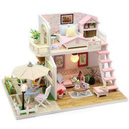 Wholesale dollhouse miniature led lights - DIY DollHouse Miniature With Furnitures LED Light Creative Handmade Doll House Wooden Model Assembled Toys Pink Loft M033