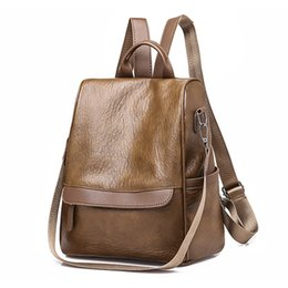Сумки для девочек для ноутбука онлайн-2018 Retro Women Leather Backpack College Preppy School Bag for Student Laptop Girls Ladies Daily Back Pack Shop Trip