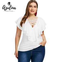 7678b098dbd AZULINA Plus Size Criss Cross Ruffle Insert T-Shirt Women T Shirts Summer V  Neck Short Sleeve Ladies Tops Tees Big Size Clothing