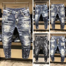 Wholesale Fly Printing - 2018 autumn hot sale top quality fashion design jeans men new style long washed cool rock style printed men's biker jeans