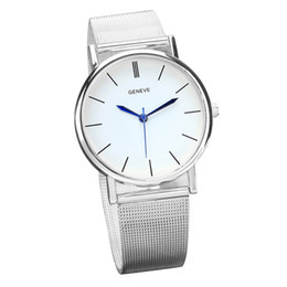 4364644fee0f 2019 relojes suizos 2016 Geneve Reloj de mujer Moda Reloj de plata Señoras  de malla fina