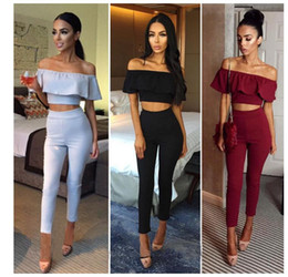 Wholesale womens sexy pants suits - 2018 new women fashion Sexy Backless bandage Pants suit womens Pants suit Casual strapless Sexy off shoulder Two piece set