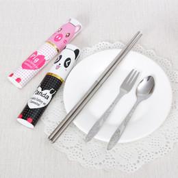 Wholesale Wholesale Chopstick Sets - 3pcs lot Portable Chopsticks Spoon Fork Set Stainless Steel Food Cutlery Sets Outdoor Travel Tableware Kits