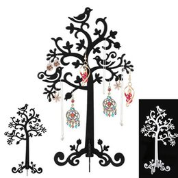 Wholesale bird jewelry holder - 2018 Birds Tree Jewelry Stand Display Earring Necklace Ring Holder Organizer Rack Tower display