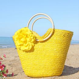 Wholesale Cheap Woven Bags - Summer Holiday Travel Flower Shoulder Bags Beach Bags Bohemian Woven Straw Handbags Cheap High Quality Beach Bag