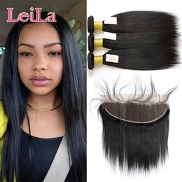 Wholesale hair mixes - Malaysian Unprocessed Virgin Human Hair With Frontal Ear To Ear 13x4 Lace Frontal Closure With 3 Bundles Silky Straight 8-28inch
