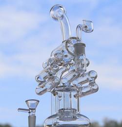 Vetro violino online-Nuovo arrivo due funzioni tubi acqua bong in vetro gorgogliatore di vetro Violin Recycler con pneumatico perc 14.4mm giunto femmina