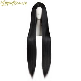 "cosplay white straight long hair Coupons - Long straight hair 40"" 100cm cosplay wig black white brown 4 colors Heat Resistant Synthetic wigs women Ladies party MapofBeauty"