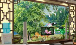 Wholesale Lake Mural - 3D Wall Murals Lake beautiful trees Modern Style 3D Wallpaper Living room 3D Mural Wallpaper