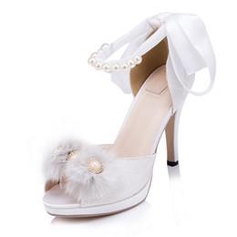 Ручная белая кружевная жемчужина ножное кольцо женская обувь Высокий каблук Sweet Lace Party Shoes607 от