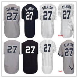 Wholesale Nwt Shirt - NWT Men's Women Youth New York 27 Giancarlo Stanton Baseball Jerseys Shirt 100% Stitched White Blue Grey,Mix Order
