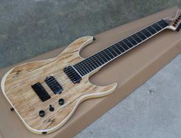 Ebano nero stringa online-7 corde chitarra elettrica ASH con pickup HH, tastiera in ebano senza inserto, hardware nero, offerta personalizzata