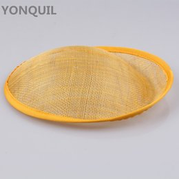 Wholesale yellow sinamay - 2017 Derby wedding 20 CM yellow SINAMAY fascinator base party hats fascinators DIY hair accessories cocktail headpieces 5pcs lot