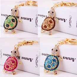 Wholesale Tortoise Rhinestone Keychains - 5 Colors Rhinestone Tortoise Keyrings Key Chains Holder For Car Purse Bag Pendant Buckle Fashion Women's Keychains