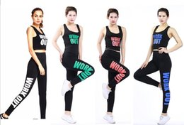 Wholesale Martial Arts Outfit - Workout Women Yoga Suit Tanks Leggings Print Letter Girls Bra Pants Sports Suits Sexy Camis Tops Leggings Tracksuits Sportwear Gym Outfits