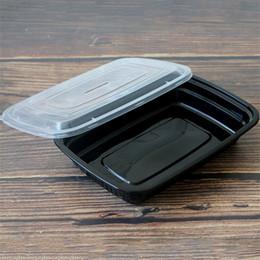 2020 caja desechable de contenedores de almuerzo Rectángulo negro desechable almuerzo cena caja de comida rápida para llevar contenedores cajas de embalaje de alimentos suministros de cocina venta al por mayor 85hy gg caja desechable de contenedores de almuerzo baratos