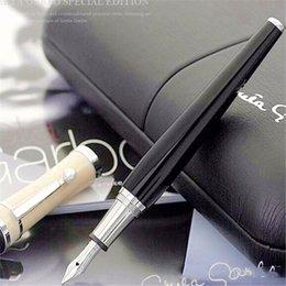 Marca de luxo caneta Greta Garbo monte preto resina Fountain Pen / roller ball pen com prata pérola grampo escritório da escola papelaria de