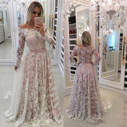 Wholesale cover overlay - 2018 South Africa Prom Dresses Long Sleeve Off Shoulder Ribbon A Line Overlay Lace Evening Party Gown Plus Size Mother Of Bride Wear
