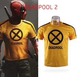 Magliette di film di halloween online-2018 Movie Deadpool 2 X-Force Giallo Slim breve manica corta Cosplay Mens T-shirt Tee Shirts Costume Halloween