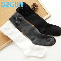 Wholesale Girls Knee High Tube Socks - Autumn Winter 3-5Y 5-8Y Kids Girls Soft Ball Knee Cotton Socks Comfortable High Quality Middle Tube Children Students Socks