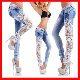 Wholesale Sexy Jeans For Women - Women Denim Jeans Lace Sexy lace flowers stitching hollow jeans Hollow Panelled pants for women 2018 Fashion long Causal Classic Slim