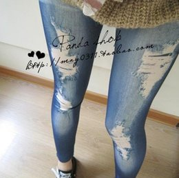 Wholesale Black Denim Jeggings - hot 2016 autumn Sexy Women Lady Jeans Skinny Jeggings seamless printing stretch imitation jeans leggings Denim Legging DD04