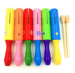 Оптовые дети 20 см труба деревянная однобарабанная деревянная песочница деревянная ударный инструмент игрушки мешок opp от Поставщики железная отделка