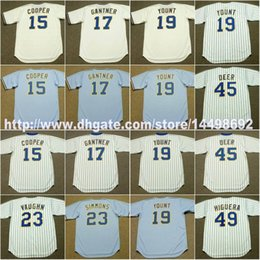 Wholesale Robin Baseball - Mens Womens Youths Neil Walker 15 CECIL COOPER 17 JIM GANTNER 45 ROB DEER 19 ROBIN YOUNT 23 GREG VAUGHN 49 TEDDY HIGUERA Throwback Jerseys