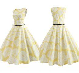 vestidos de impresión amarilla Rebajas Nueva vendimia amarillo verano vestidos casuales con marco 2018 moda impresa floral partido de las mujeres desgaste hasta la rodilla FS3839