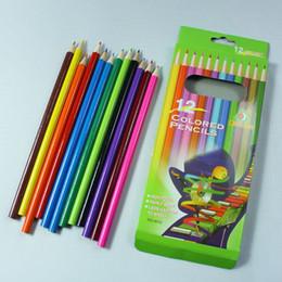 Wholesale Wood Pen Pencil Set - 12pcs set wooden colored pencils for coloring books Crayon Painting Pen Drawing Pencil Painting Supplies 12 colors