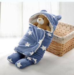 Wholesale Winter Blanket For Newborn Baby - Baby Sleep Sack Winter Warm Baby Sleeping Bag for Stroller Newborn Swaddle Blanket With White Fleece Bedding Accessories