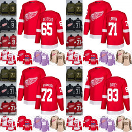 c5c97d2f250 2018-2019 Red Wings mens women youth 65 Danny DeKeyser 71 Dylan Larkin 72  Andreas Athanasiou 83 Trevor Daley hockey Jersey Stitched S-3XL