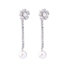 Wholesale Noble Women Costumes - Elegant & Noble Long Crystal Chain Earrings Hanging Rhinestone Imitation Pearls Flower Dangle Earrings Costume Jewelry for Women