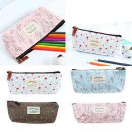 Wholesale pencil case fabric floral - Vintage Flower Floral Pencil Pen Case Bag Cosmetic Makeup Storage Bag Purse