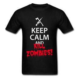 Camiseta para hombre imprimiendo nuevos diseños online-Mantenga la calma y KILL ZOMBIES Title Quotes Font T Shirt Mens Summer Fashion Casual Print T-Shirts On Sale Men's New Design Funny Tshirt