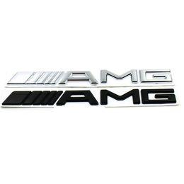 pegatina amg mercedes Rebajas Nueva etiqueta engomada del coche del ABS 3D para Mercedes AMG logotipo CLA GLA W212 W211 W210 W202 insignia del emblema negro de plata para AMG etiqueta pegatinas del tronco del coche