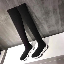 low heel long boots Coupons - Name Brand Speed Trainer Thigh High Stretch-Knit Long Boots Woman Fashion Designer Slip On Sock Boots Cheap Casual Shoe All Black Size 40