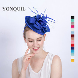 Wholesale Lady Fascinators - New Arrival royal imitation Sinamay Fascinators Elegant Ladies feather Floral Hat hairclip Wedding Party Derby Hair Accessories