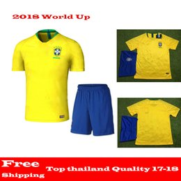 Wholesale National Team Soccer Uniforms - 2018 world cup kit Brazil Soccer Jerseys Sets NEYMAR JR soccer kits COUTINHO G.JESUS Brasil national team home yellow Football uniform suits