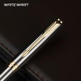 Wholesale Executive Fashion - Promotion!!! MONTE MOUNT pen Ballpoint Pen Fashion Business Executive Brand good quality silver strip gold high quality