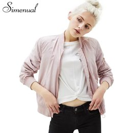 Wholesale Slimming Bomb - Simenual Casual new 2017 autumn bomber jacket female long sleeve solid slim outerwear for women jackets coats pink female bomb
