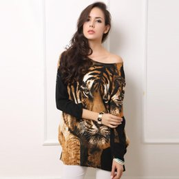 Wholesale Tiger Bells - Wholesale-Cotton Women Tiger Long Sleeve T Shirts Long Sleeves Batwing Brand Loose Style Female T Shirt Batwing Sleeve Knitted Shirts D05