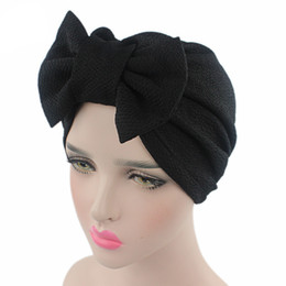 hair fall protection Promo Codes - Womens Bowknot Bow tie Stretch Hijab Turban Headwear Cap Ruffle Chemo Hat Beanie for Cancer Patients hair accessories