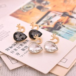 Wholesale Earings Color Diamond - Popula Fashion Earring Paris Cygnet Plating Gold Color Diamond Valentine's Day Gift Lovely Earings 2018 New Year